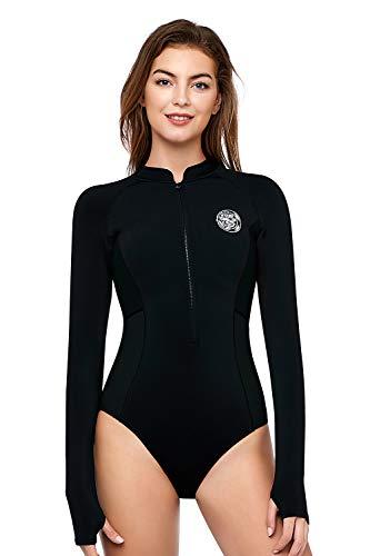 AXESEA Traje de neopreno corto de una pieza para mujer, respetuoso con el medio ambiente, térmico de manga larga con cremallera frontal, traje de buceo
