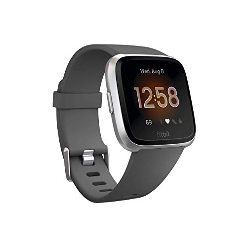 Fitbit Versa Lite Smartwatch, Charcoal/Silver Aluminum, One Size (S & L Bands Included)