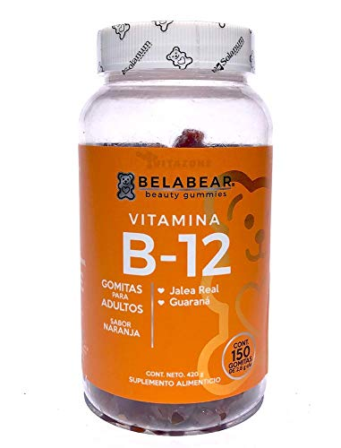 Vitamina B12 150 gomitas Belabear sabor Naranja.