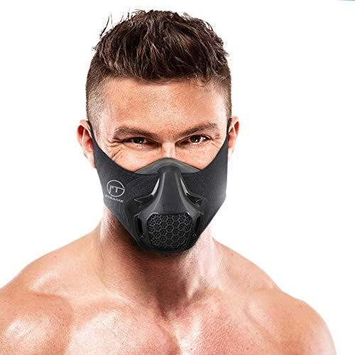 FITGAME Máscara de entrenamiento | 24 niveles de resistencia respiratoria – Máscara de fitness | Entrenamiento en simulación de alta altitud – Aumenta la resistencia cardiovascular | Pulsera deportiva adicional y caja incluida (negro)