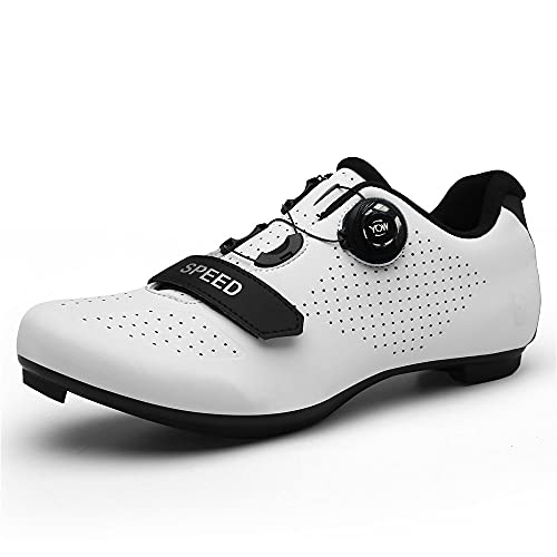 Delta Cleats Peloton Zapatos De Los Hombres De Bicicleta De Carretera Zapatos De Ciclismo De Interior Ciclo Spinning Zapatos De Bicicleta 3 Pernos SPD-SL Zapatos De Ciclismo, 002_blanco, 11.5