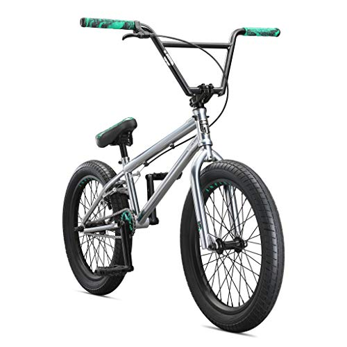 Mongoose Legion L500 Freestyle BMX Bike for Professional-Level Riders, Featuring 4130 Chromoly Frame, Handlebar, and Fork, with 20-Inch Wheels, Silver