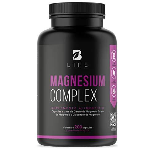 Mezcla de Magnesios de 200 Cápsulas, Citrato de Magnesio, Oxido de Magnesio y Gluconato de Magnesio, Magnesium Complex B Life