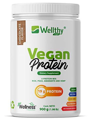 Proteina Vegana Vegan Protein Mix Sabor Chocolate. Proteína de Arroz, Amaranto, Chícharo y Hemp. 900 gramos (1.8 libras)