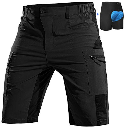 Cycorld Pantalones Cortos Acolchados para Bicicleta de montaña para Hombre, Pantalones Cortos Holgados para Ciclismo de MTB, Forro Acolchado extraíble con Bolsillos con Cremallera