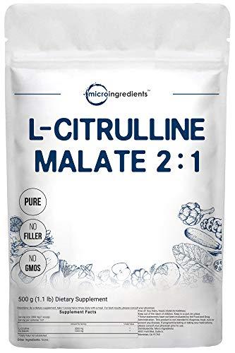 Pure L Citrulina Malato 2:1 en polvo, 500 gramos (1 libra), suplemento de citrulina vegana y nitrato de citrulina, soporta fuertemente el rendimiento muscular, energía, resistencia, resistencia y fuerza, sin OGM