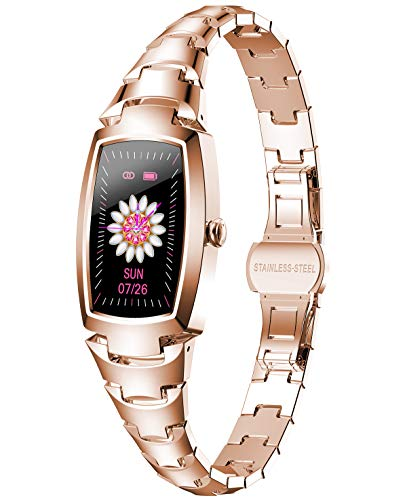 Smartwatch Reloj inteligente para mujeres, rastreador de ejercicios a prueba de agua con presión arterial, frecuencia cardíaca, oxígeno en sangre, monitor de sueño, notificación de mensajes, podómetro deportivo, pulsera de reloj inteligente para teléfonos iOS con Android