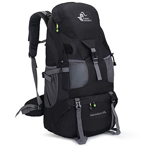 Mochila de senderismo ligera resistente al agua de 50 litros, mochila de viaje para escalada, camping y turismo, Negro, 25.2*12.6*7.5 inches
