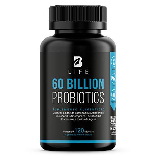 60 Billones de Probióticos con Prebióticos 120 Cápulas Veganas de Liberación Retardada Para Máxima Absorción 3 Cepas B Life