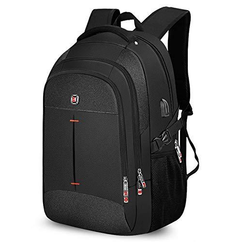 ZUMECA Mochila para Hombrs, Mochila para Laptop Antirrobo Impermeable Mochila para portátil Multiusos Daypacks con Puerto de Carga USB (Negro)