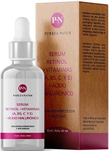 Serum Retinol + Vitaminas A, B5, E, C + Acido hialuronico facial hidratante y reparador | Suero Reductor de líneas de expresión e imperfecciones en la piel