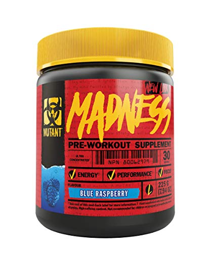 Mutant MADNESS Pre Workout, Engineered for High Intensity Workouts with 5-Caffeine Source Blend, Blue Raspberry, 30 Servings by Mutant