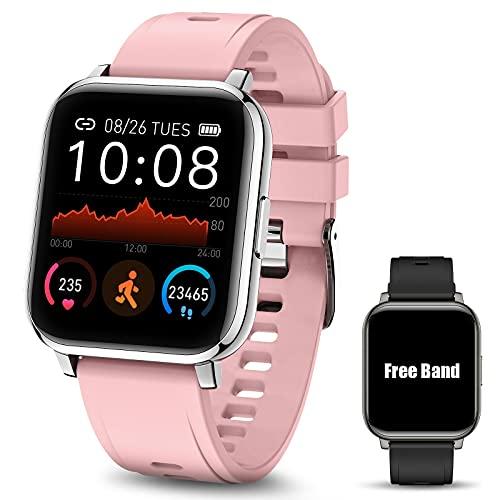 Smartwatch Pulsera Inteligente, MTQ Reloj Inteligente Deportivo, Reloj Deportivo Pantalla Táctil de 1.4 Pulgadas Impermeable IP67 monitores de actividad con Pulsómetro y Presión Arterial, Monitor de Calorías, Sueño, Podómetro, GPS Monitor de Pasos, Reloj para Mujeres