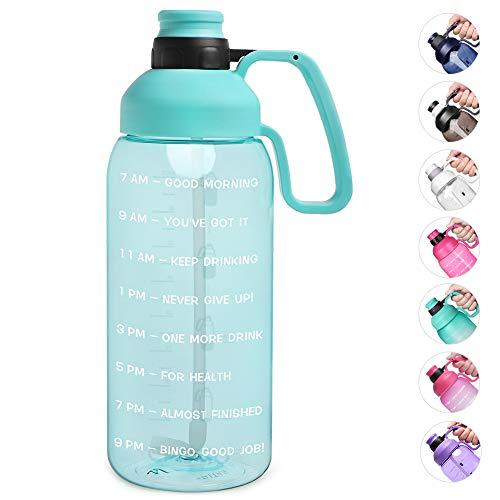 Opard Botella de agua de media galón con marcador de tiempo, jarra de agua motivadora de 64 onzas, botella de agua grande deportiva con asa de sorbete, sin BPA, para gimnasio, Cian