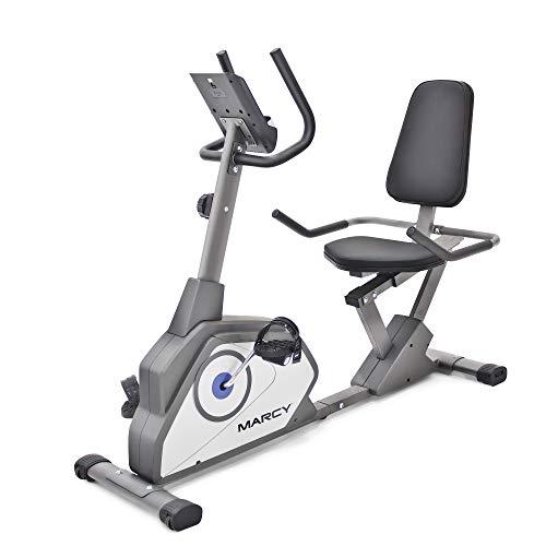Marcy NS-40502R Bicicleta estática reclinable magnética con 8 niveles de resistencia, Una talla, Gris