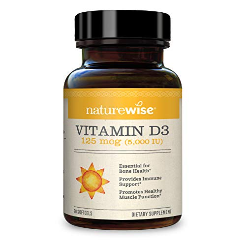NatureWise Vitamin D3 5000 IU in Organic Olive Oil and Halal Gelatin Soft Gel, 90 Count