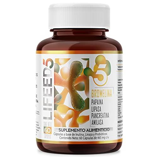 LIFEED Multi Enzimas Digestivas (Bromelina, Papaina, Lipasa, Pancreatina, Amilasa) + Probióticos 25 billones + Linaza   Cápsulas 60 días   LF5 Funcionamiento Digestivo   LIFEED5 Ingredientes Naturales y Vitaminas