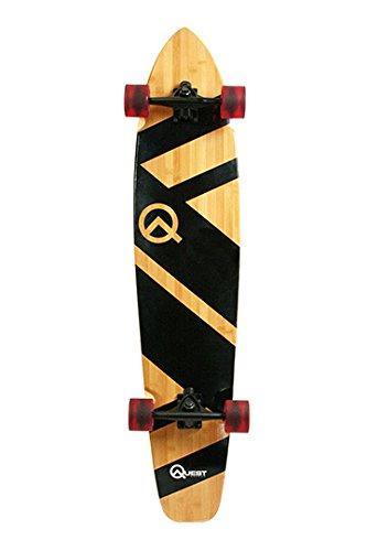 Quest QT-NSC44C The Super Cruiser The Original Artisan Bamboo and Maple - Tabla de Longboard (111,8 cm), Color Negro
