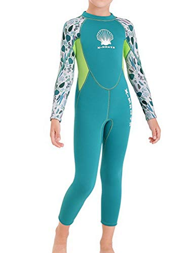 Skijakkeset - Traje de baño térmico de neopreno de 2,5 mm para niños y niñas de una pieza para buceo, traje completo y traje corto