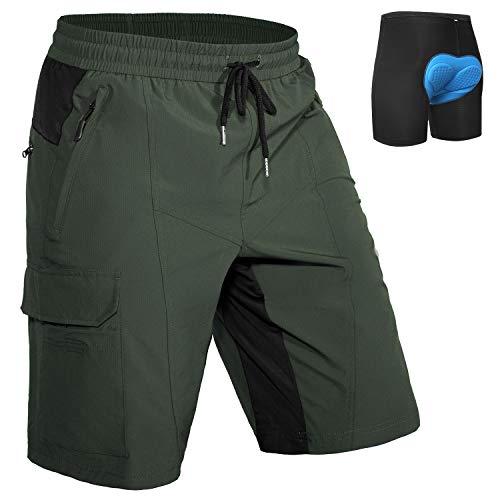 Hiauspor - Pantalones Cortos para Bicicleta de montaña para Hombre, con Ropa Interior Acolchada, Ligera, Holgada, con cordón