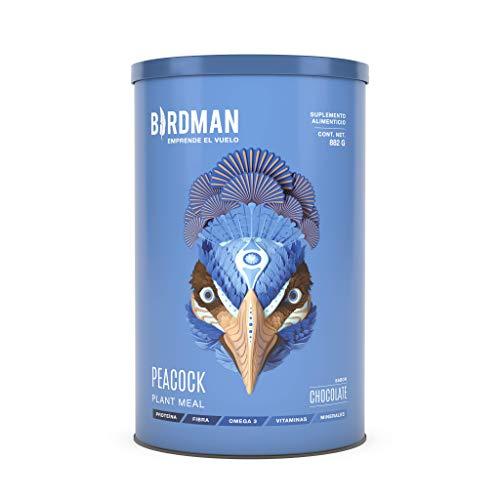 Birdman Peacock Plant Meal Suplemento Alimenticio Ligero Vegetal En Polvo, Vitamina B12 Vegana, Acido Folico, Hierro Y Calcio, 21 Porciones Sabor Chocolate 882gr