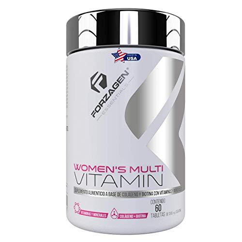 FORZAGEN Essentials | Hecho en EUA | Women's Multivitamin - 60 Tabletas | Vitaminas y Minerales Importados para Mujer | Vitamina C | Ácido Fólico | Zinc | Magnesio | Calcio | Poderosos Antioxidantes | Con Complejo de Belleza | Biotina | Colágeno Hidrolizado | Ácido Hialurónico | Levadura | Mejora y Mantiene Salud de la Piel, Cabello y Uñas | Refuerza Sistema Inmune | Protege la Salud | Incrementa Energía y Vitalidad | Esencial para Mujeres | Suplemento Natural