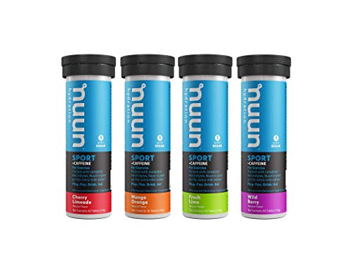 Nuun Hydration: Electrolyte + Caffeine Drink Tablets, Mixed Flavor Pack, Box of 4 Tubes (40 servings), Performance Formula with A Kick