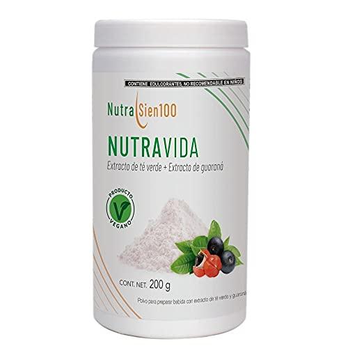 Nutrasien100 NutraVida | Energetizante natural + vitaminas | Con ingredientes naturales: Té verde + Guaraná + Vitamina B12 + Vitamina C + Magnesio | Sin azúcar añadida |Apto para vegano y vegetariano | Apto para planes Keto | Sabor arándano | 200 gr para 20 porciones