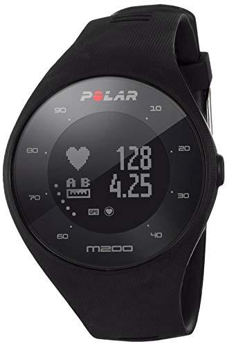 Polar M200 - Reloj running con GPS y frecuencia cardiaca en la muñeca, tamaño de pantalla 26 mm de diámetro de área visible, 1342 píxeles, peso de 44 g, color negro, grosor de 12 mm, M/L