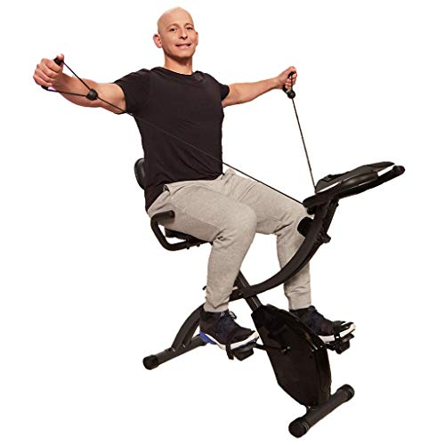 Original As Seen On TV Slim Cycle | Bicicleta estática plegable para interior, con bandas de resistencia de brazo y monitor cardíaco | Máquina de ejercicio casera perfecta para cardio