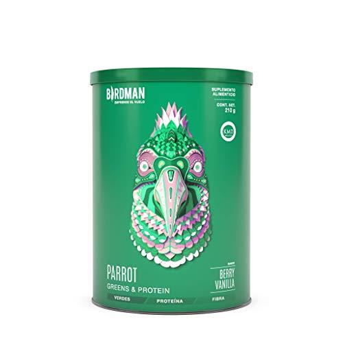 Birdman Parrot Greens & Protein Super Alimento, Colacion De Verdes + Proteina En Polvo (Vegana) Certificado Kosher, Alto En Fibra, Vitamina A, C, B9 7 Porciones Sabor Berry Vainilla 210gr