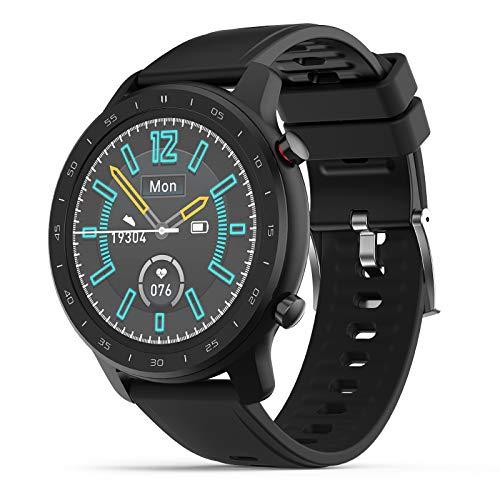 KOSCHEAL K30s Smartwatch, 1.3inch Pantalla Táctil Completa Pulsera Inteligente con Pulsómetro y Presión Arterial,Monitor de Calorías, Sueño,Podómetro,Relojes Deportes GPS Monitor de Pasos,Reloj Inteligente para Hombre y Mujer