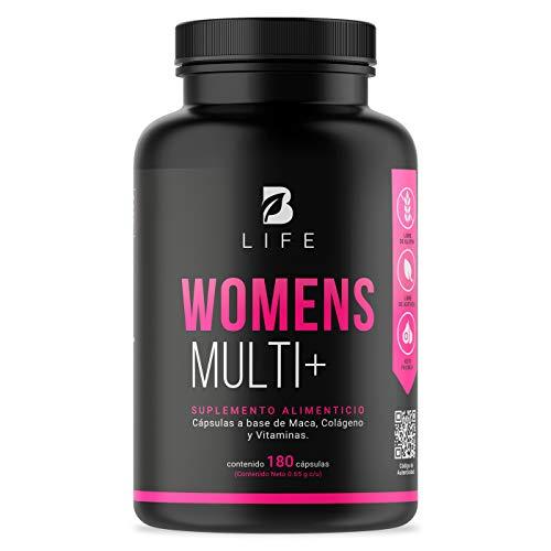 Multivitamínico de Mujer de 180 Cápsulas con Maca, Colágeno Hidrolizado, Biotina, Ácido Fólico y Vitaminas. Womens Multi+ B Life