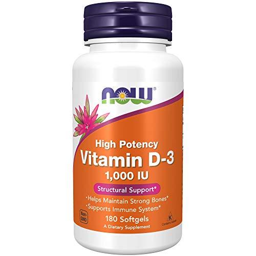NOW Supplements, Vitamin D-3 1,000 IU, 180 Softgels/ NOW Suplementos, Vitamina D-3 1,000 IU, 180 Cápsulas