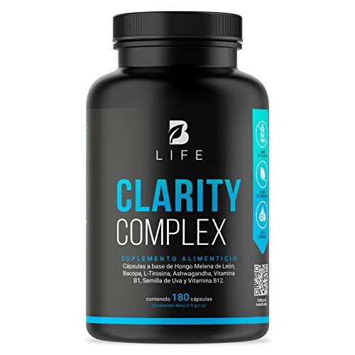Nootropico para impulso mental 180 capsulas, estimulacion natural para la concentracion, claridad y mejoria de la memoria. B Life clarity complex
