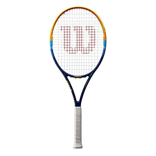 WILSON Prime - Raqueta de Tenis, Adulto, Azul, Anaranjado, Blanco, 4 1/4