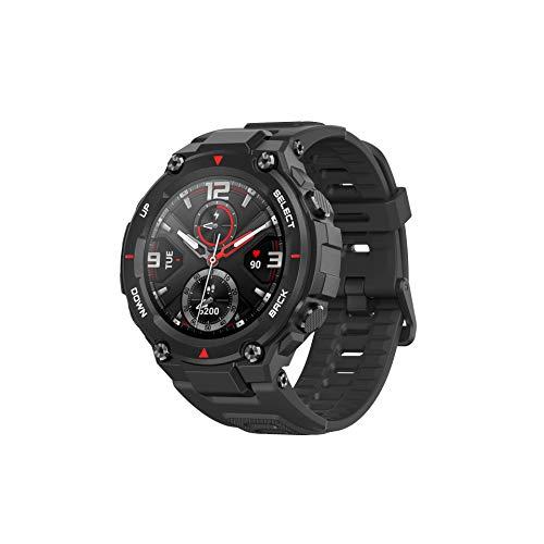 Amazfit T-Rex Reloj Inteligente con certificación Militar estándar, Cuerpo Duro, GPS, batería de 20 días, Pantalla AMOLED de 1,3 Pulgadas, Resistente al Agua, 14 Modos Deportivos, Color Negro