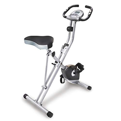 EXERPEUTIC Bicicleta de Ejercicio Vertical Compacta Plegable de Resistencia Magnética con Pulso