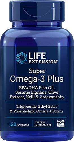 Life Extension Super Omega-3 Plus EPA/DHA With Sesame Lignans, Olive Extract, Krill and Astaxanthin, 120 Count