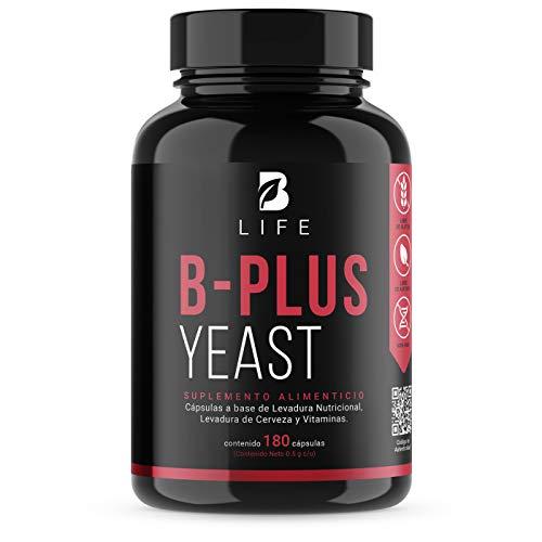 Complejo B + Levadura Nutricional y Levadura de Cerveza de 180 Cápsulas, B1, B2, B5, B6 y B12. B-Plus Yeast B Life