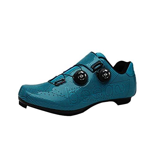 Delta Cleats Peloton Zapatos De Los Hombres De Bicicleta De Carretera Zapatos De Ciclismo De Interior Ciclo Spinning Zapatos De Bicicleta 3 Pernos SPD-SL Zapatos De Ciclismo, azul, 12