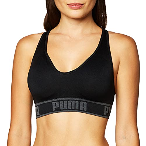 PUMA Sujetador Deportivo sin Costuras para Mujer, Negro, XL