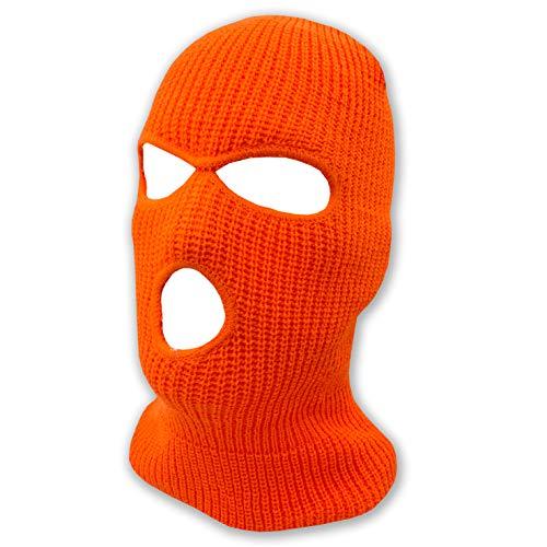 3 agujeros Beanie Face Mask Ski - Warm Double Thermal Knit - Hombres y Mujeres, Anaranjado Neón, Large
