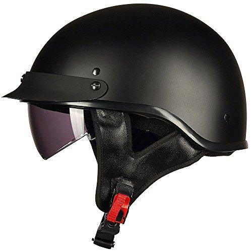 ILM - Medio casco abierto de motocicleta con visera para el sol con hebilla de liberación rápida, aprobado por el DOT, para ciclismo, motocross, para hombres y mujeres