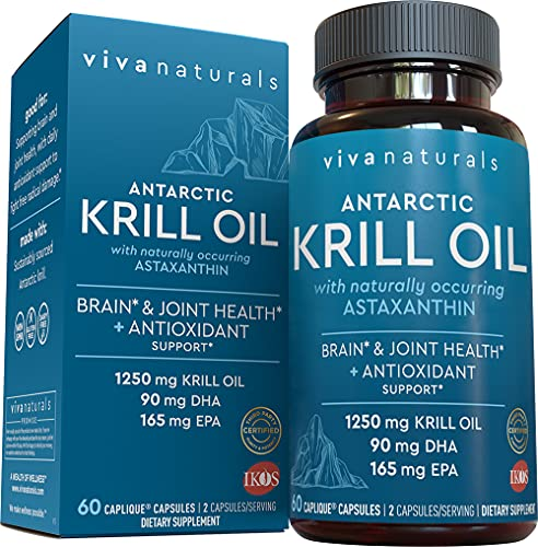 Aceite de krill de Viva Labs: 100% aceite de krill antártico puro, los niveles más altos de Omega-3s en la industria, 1250 mg/porción, 1 paquete
