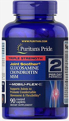 Puritan's Pride Glucosamina condroitina y MSM de triple fuerza - 90 tabletas recubiertas (glucosamine)