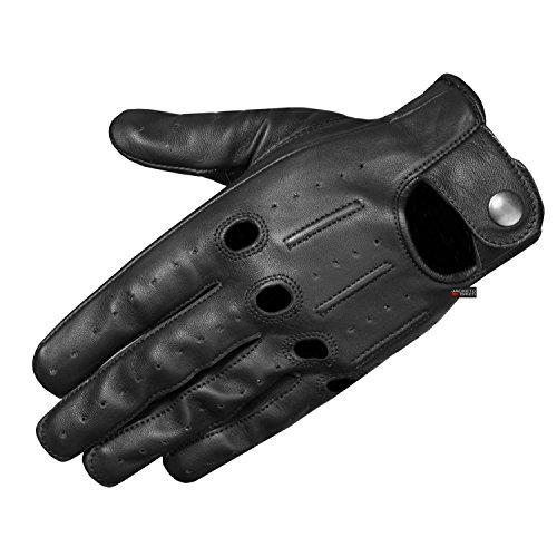Transporter - Guantes de piel de cordero con ventilación para hombre, Negro, Medium