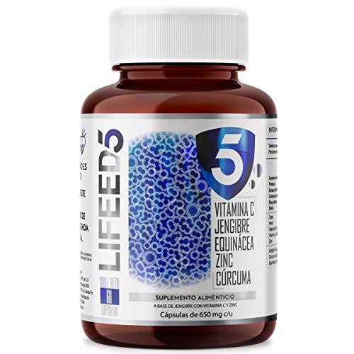 LIFEED INMUNE Vitamina D, Vitamina C, Zinc, Cúrcuma, Equinácea, Jengibre   LF5 Cápsulas 60 días   LIFEED5 SISTEMA INMUNE PRO COMPLEX   Ing Naturales con Vitamina D3 400, Sin Azucar