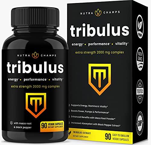 Suplemento Tribulus Terrestris 2000 mg [Extra Strength] 45 % saponinas esteroidales – Absorción mejorada con polvo de maca y extracto de pimienta negra – Tribulus Terrestris para hombres y mujeres – 90 cápsulas veganas