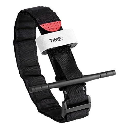 Tactical Tourniquet – Aplicación médica de emergencia militar de combate para senderismo, suministros médicos de primeros auxilios, rápida aplicación con una sola mano, cuenta con parabrisas y sello de tiempo, Negro